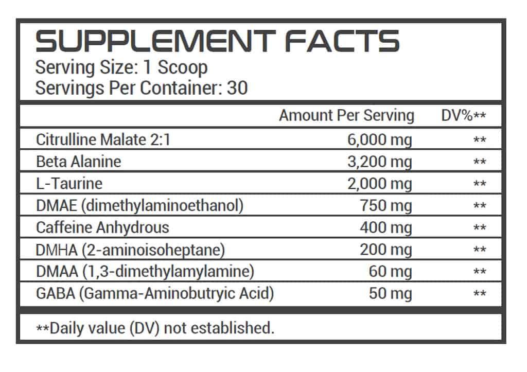 Dark Energy Supplement Facts