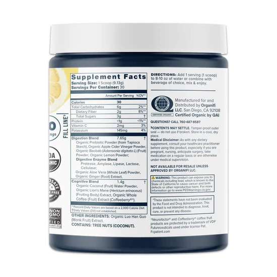 Organifi Pure Supplements Facts
