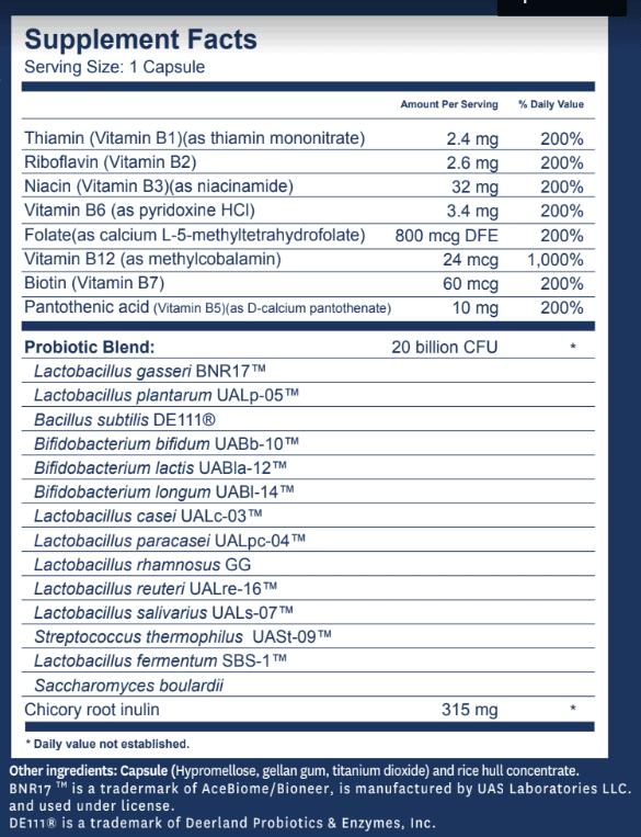 Synbiotic 365 Supplement Facts