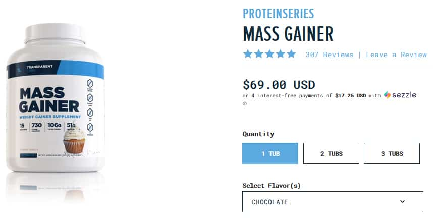 Transparent Labs Mass Gainer Pricing
